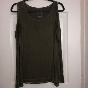 Long sleeve open shoulder olive green top